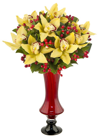 bouquet of orchids in vase isolated on white