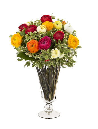 bouquet of yellow, white and red flowers in vase isolated on white