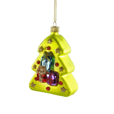 Green christmas tree toy on white background
