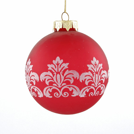 Redwhite christmas ball toy on white background Stock Photo