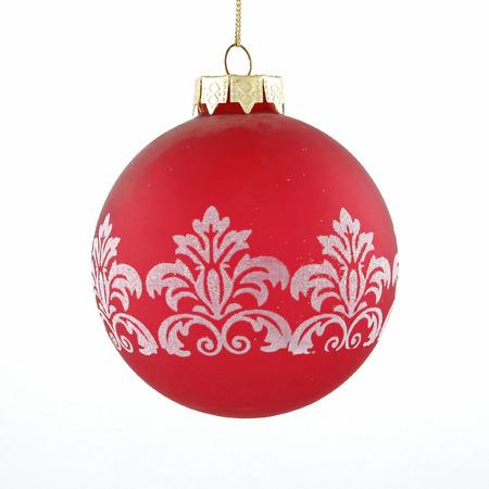 Redwhite christmas ball toy on white background Stock Photo