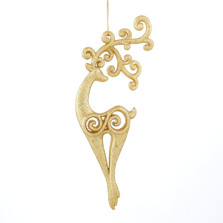 Golden deer christmas toy on white background Stock Photo