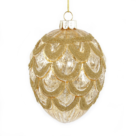 Golden christmas cone toy on white background Stock Photo