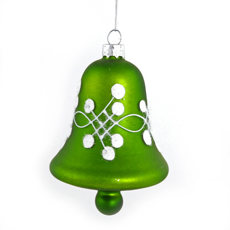 Green christmas bell isolated on white background