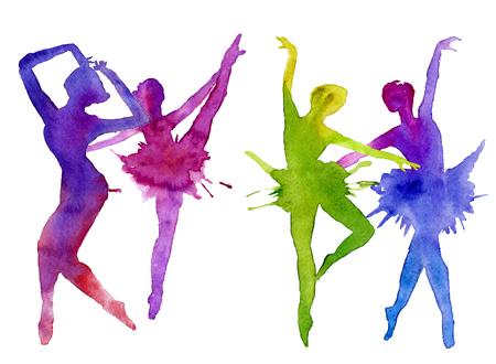 ballerina. dancer. color.watercolor technique