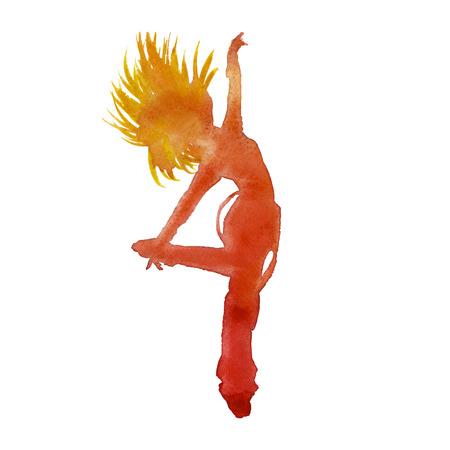baile hip hop: bailarín en el hip hop. juvenil de baile. aislado. técnica de la acuarela Foto de archivo