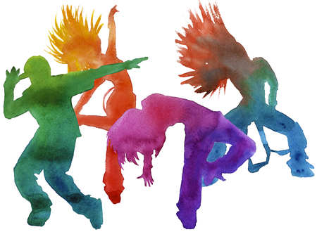 hip hop silhouette: dancer in hip hop. youth dance. insulated. watercolor technique