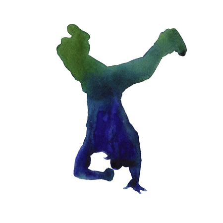 watercolor technique: dancer in hip hop. youth dance. insulated. watercolor technique