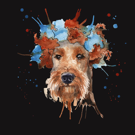 airedale terrier: the dog the Airedale Terrier in headdress made in the form of a wreath of flowers. isolated. Watercolor Stock Photo