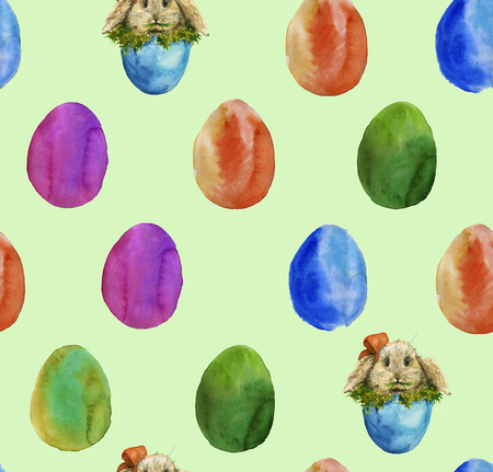 the background of the colored Easter eggs and eggs with the Easter Bunny, munching grass. Watercolor