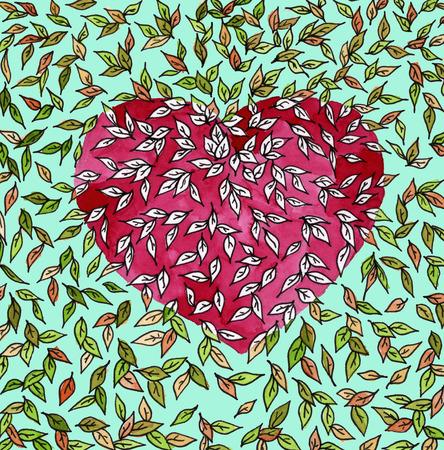 Un Fondo De Color De Corazones Rojos Con Hojas De Color. Día De San ...