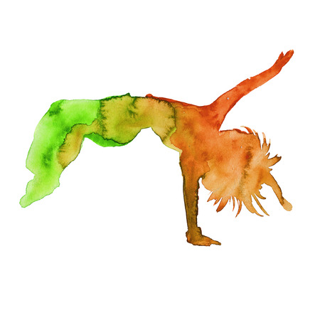 hiphop: silhouette of hip-hop dancer. female. isolated. watercolor