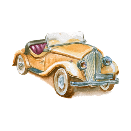 illustration of a retro car. vintage. isolated. watercolor