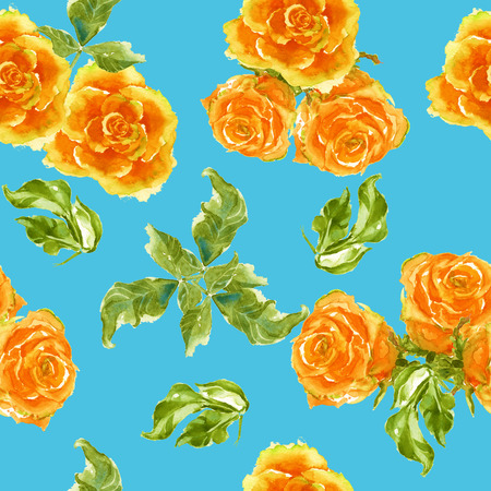 yellow roses: background of yellow roses with branches. seamless pattern. watercolor. Stock Photo
