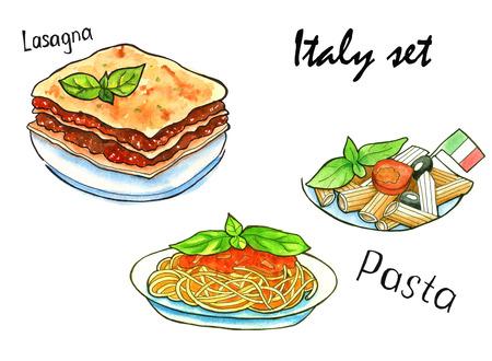 lasagna: Set sketches of Italian dishes. Italian Cuisine. lasagna and pasta. isolated. watercolor
