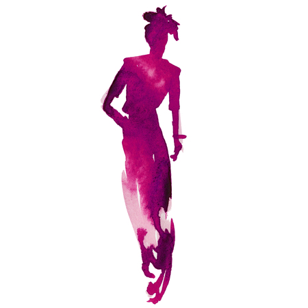 catwalk model: silhouette of a woman. Model on the catwalk. style and fashion. isolated. watercolor Stock Photo