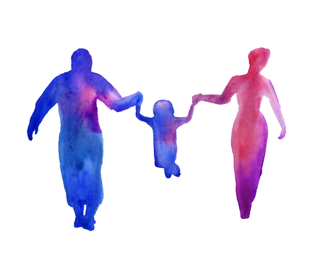 family isolated: silhouette of people. man, woman, child. a family. isolated. watercolor
