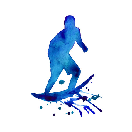 surfer. man in blue on the board. isolated. watercolor Stock Photo