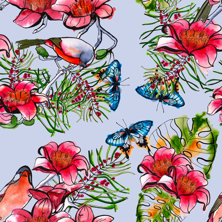 fauna: seamless pattern with tropical elements. tropical leaves, birds and butterflies. background. watercolor.
