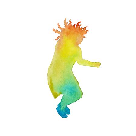 color in: silueta del niño en color. niño saltando. el elemento de diseño. aislado. acuarela Foto de archivo