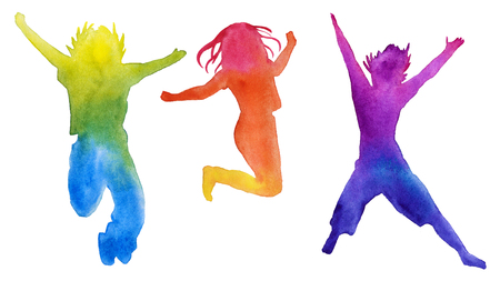 Set of children silhouettes in colors. design elements. children jump. isolated. watercolor