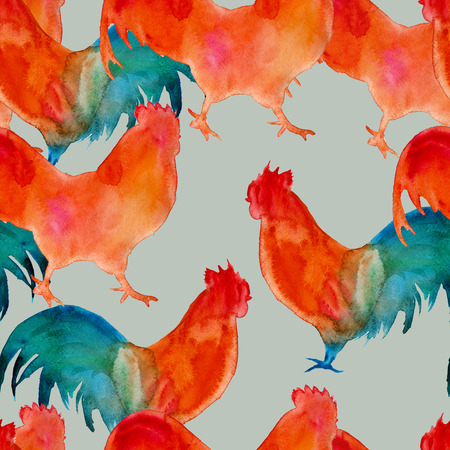 background silhouettes roosters. seamless pattern. watercolor illustration
