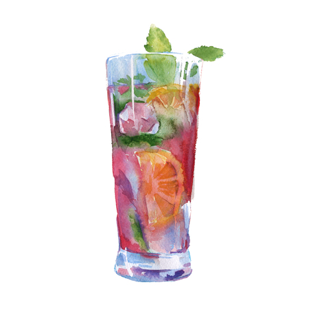 cocktail with fruit and mint. in clear glass. isolated. watercolor illyustrtsiya