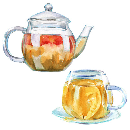 Glass teapot and cup with green tea. isolated. watercolor illustration.