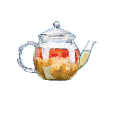 Glass teapot with green tea. isolated. watercolor illustration. Stock Photo