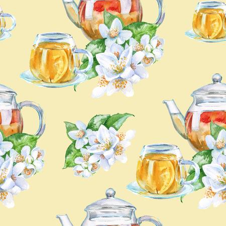 aquarel: background tea set. green tea. seamless pattern. watercolor illustration. Stock Photo