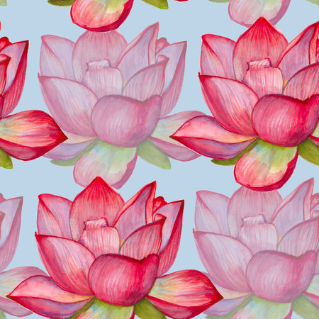 background with pink lotus flower. seamless pattern. watercolor illustration. Stock Photo
