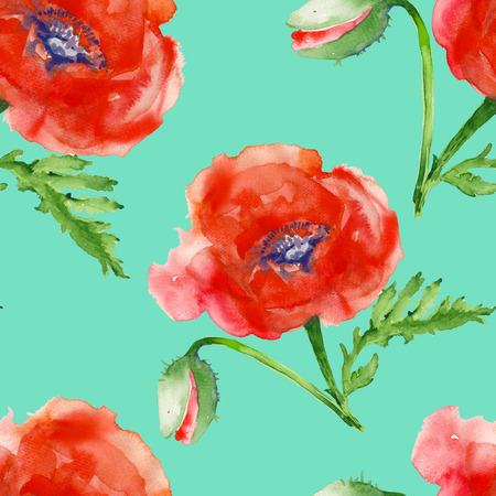 red poppy: background  red poppy. seamless pattern. watercolor illustration