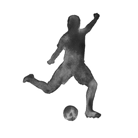 footballer: silhouette of a man playing football. footballer. isolated on white background. watercolor illustration.