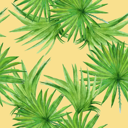 palmetto: Background palm tree leaves. Seamless pattern. Wallpaper. Watercolor illustration. Stock Photo