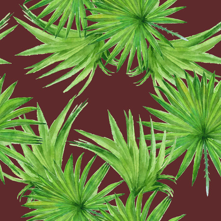 Background palm tree leaves. Seamless pattern. Wallpaper. Watercolor illustration. Stock Photo