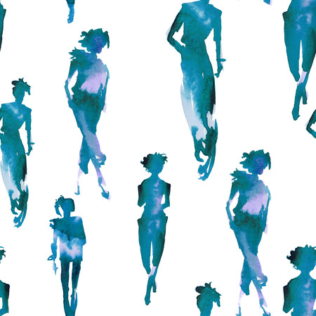catwalk: Background with silhouettes of girls. Models on the catwalk. Seamless pattern. Watercolor illustration. Stock Photo