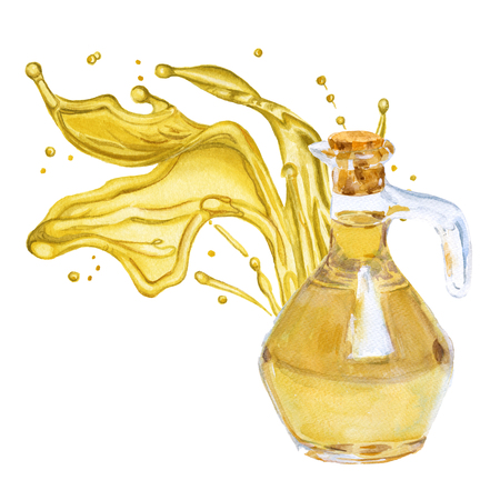 Olive oil in the bottle. A splash of oil. Isolated on white background. Watercolor illustration. Stock Photo