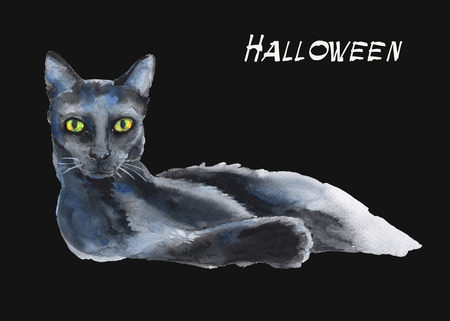 reclining: reclining black cat. a stand-alone sketch. the symbol of Halloween. watercolor illustration. Stock Photo