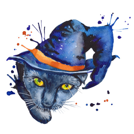 standalone: black cat in the hat. a stand-alone sketch. the symbol of Halloween. watercolor illustration.
