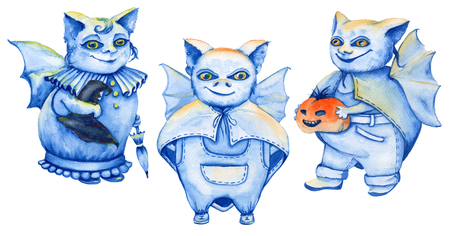 standalone: the bat suit. a stand-alone sketch animation. the symbol of Halloween. watercolor illustration.