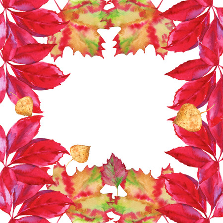 Garland of autumn fallen leaf in the tree. Isolated on a white background. Watercolor illustration.