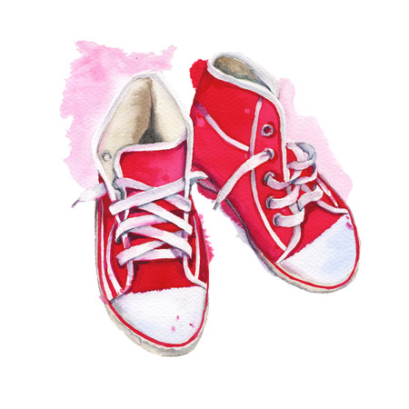red shoes: Sneakers red. Shoes athletic. Isolated on white background. Watercolor illustration.