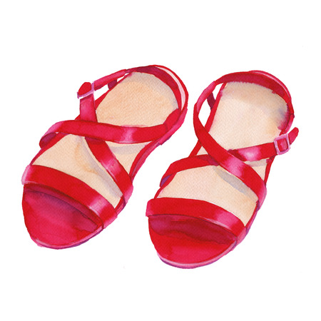 Sandals red. Womens shoes. Isolated on white background. Watercolor illustration. Stock Photo
