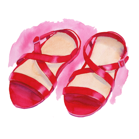 women's shoes: Sandals red. Womens shoes. Isolated on white background. Watercolor illustration. Stock Photo