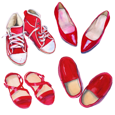 red shoes: Set of red shoes. Shoes, womens and mens shoes. Isolated on white background. Watercolor illustration.