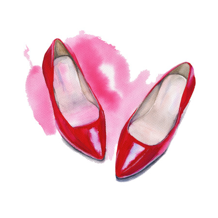 red shoes: Shoes womens red. Shoes for women. Isolated on white background. Watercolor illustration.