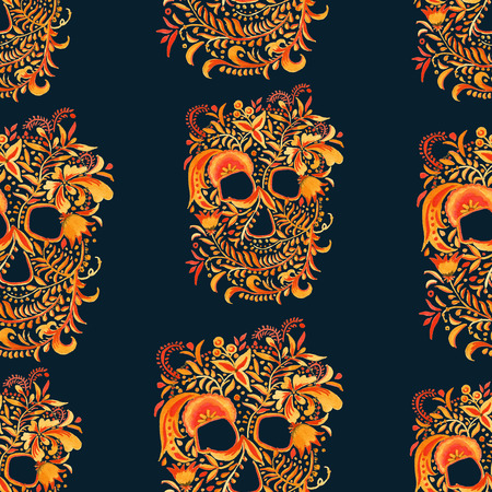 skull background with ornament Khokhloma. Russian arts and crafts. seamless pattern. watercolor illustration.