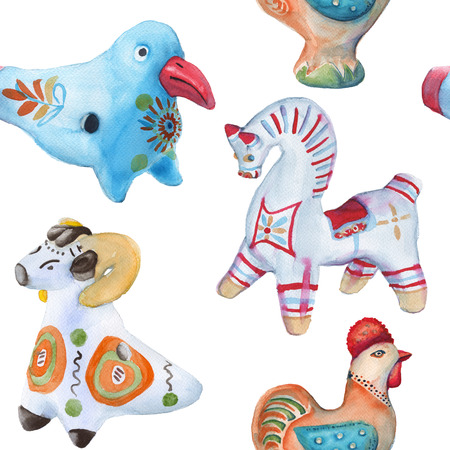 earthenware: Background Toy clay. Dymkovo toys. Russian arts and crafts. seamless pattern. watercolor illustration. Stock Photo