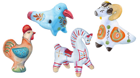earthenware: Toy clay. Russian arts and crafts. Dymkovo toys. isolated on a white background. watercolor illustration.
