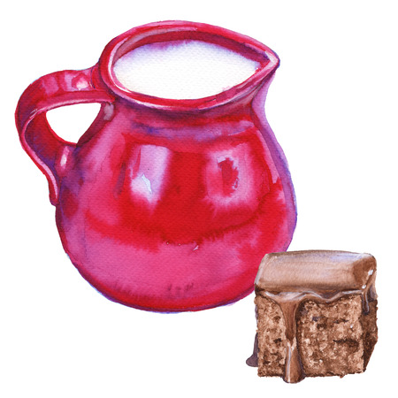 Red jug with milk. Watercolor illustration. Isolated on a white background.